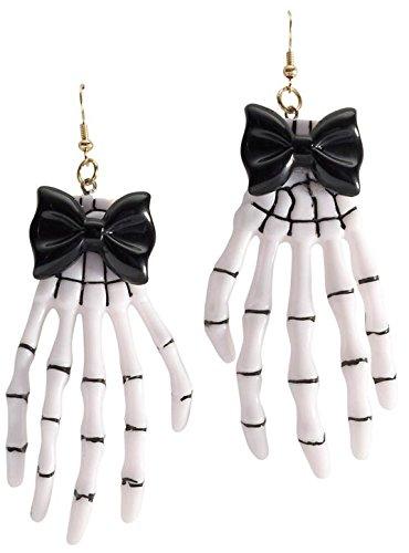 Ladies White Skeleton Hand Ear Rings Halloween Fancy Dress Accessory