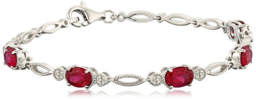 Sterling Silver Oval Shape Created Ruby Bracelet, 7.5""