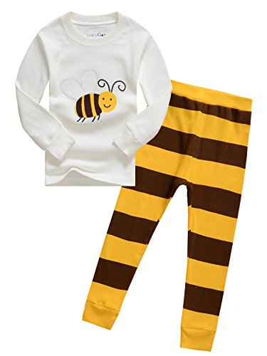 Little Girl & Boy Ladybird And Bumble Bee 2 Piece Pajama Set Cotton Sleepwear (TAG 7T for 6-7years, bee)