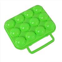 Hoomall Sroßfest Eierträger Eierbehälter Eierbox Eieraufbewahrung mit Tragegrriff für 12 Eier Grün