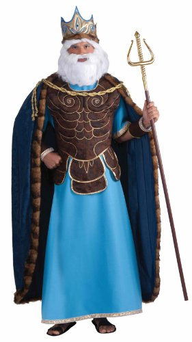Men's King Neptune Costume, Blue/Brown, One Size