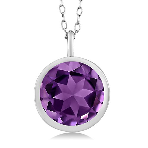 Round Purple Amethyst: 2.75 Ct 9MM 925 Sterling Silver Women's Pendant Necklace Solitaire With 18'' Silver Chain