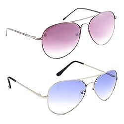 Elligator Stylish Spartiate Purple And Aviator Silver Blue Sunglasses Combo ( Set of 2 )