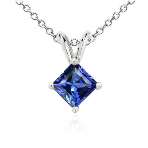1.00 Carat Authentic Gemstone Simulated Princess Cut Sapphire Pendant Set in 925 Sterling Silver