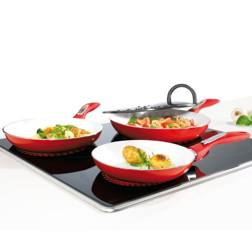 TV Das Original 02478 Bratmaxx Induction Frying Pan Ceramic 4-Piece Set with Splatter Guard Red