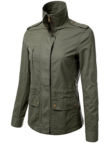 JJ Perfection Women's Casual Lightweight Cotton Anorak Army Utility Jacket OLIVE L
