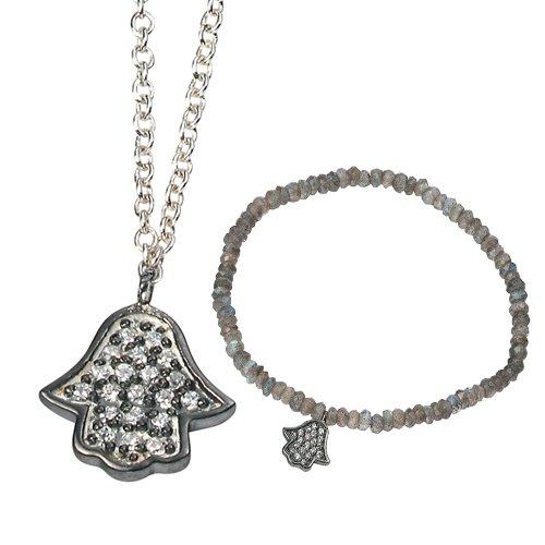 Elina H Silver Black Rhodium Plated Buddha Hand with CZ Jewellery Set