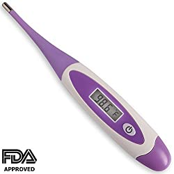 Baby Digital Thermometer - For Infants, Babies & Kids - 30 Seconds Read - FDA & CE Approved - Flexible Tip - Waterproof - Extra Battery Included - Clinical Fever Alarm - Rectal Under The Arm / Tongue