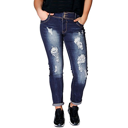 SCO Nuovo Donna Plus Size Ripped Stretch Slim Fit Jeans Denim Blue 54