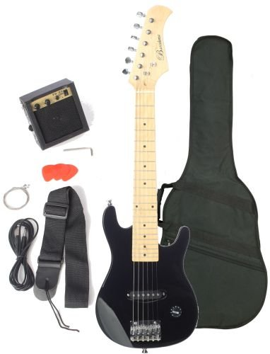 Barcelona Kid Series Electric Guitar with 5-Watt Amp, Gig Bag, Strap, Cable, Strings, Picks, and Wrench - Black