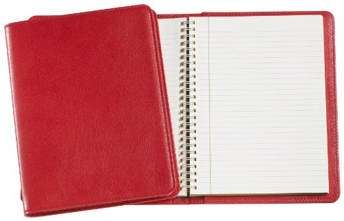 Graphic Image Wire-O-Notebook, Goatskin Leather, 9-Inches, Red (JS9MRBLGTIRED)