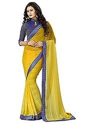 AG Lifestyle Women's Chiffon Saree(DVY4014, Yellow)