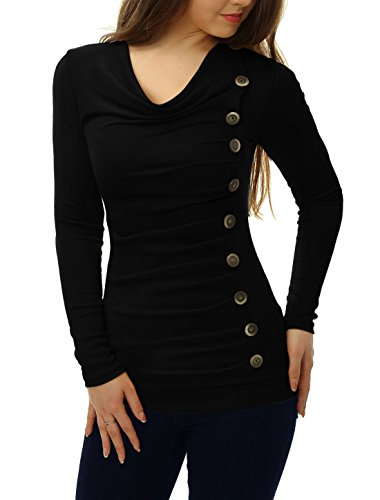 allegra-k-women-cowl-neck-long-sleeves-buttons-decor-ruched-top-black-s