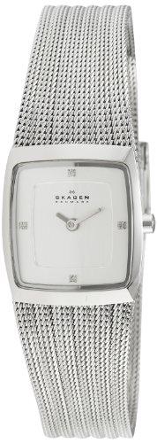 Skagen - Montre Femme - 380XSSS1 - Bracelet Acier Inoxydable Argenté - Cadran Blanc