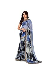 Anusha Lavender,Blue,Black Georgette Self Printed With Attached Border Saree