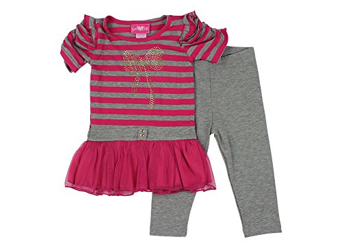 Alfa Global Little Girls Short Sleeved Dress And Leggings Set Pink 2T back-705043