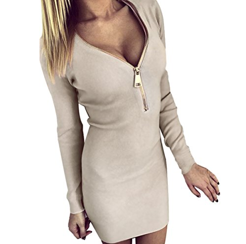 Mini Kleid mit tiefer V-Kragenschnitt
