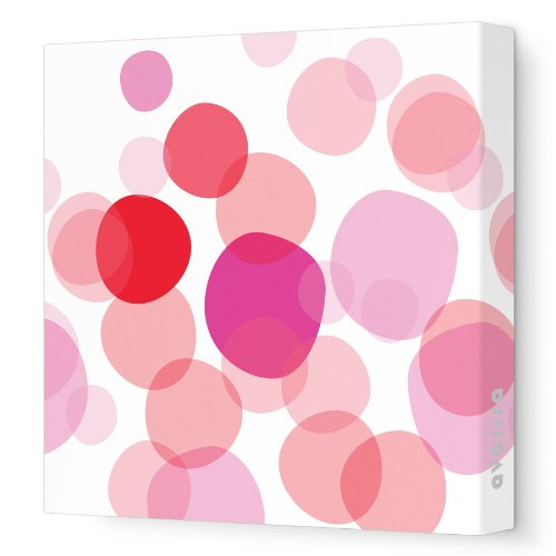 """Avalisa Stretched Canvas Nursery Wall Art, Bubbles, Pink, 18"""" x 18"""""""