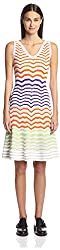 M Missoni Women's GDC9A41B-MM2421 Chevron Stripe Dress, White, 46 IT/12 US