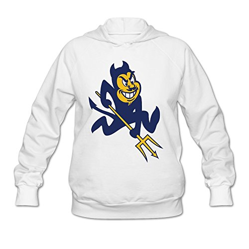 LaviV Women's Duke Blue Devils Mascot Fighting Blue Devil Sweatshirts White