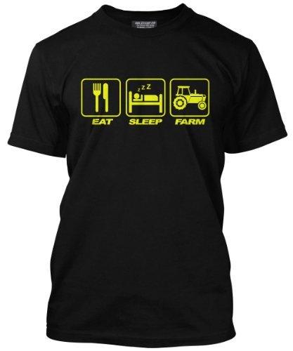 Valore, Schwarzes T-shirt per Men Eat Sleep Farm - con sovrastampa da HotScamp nero 48