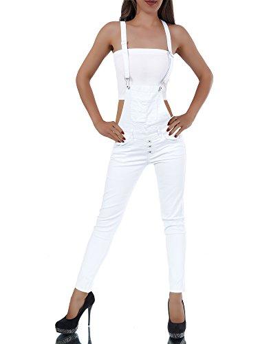 L326-Damen-Jeans-Hose-Hfthose-Damenjeans-Hftjeans-Rhrenjeans-Rhre-Latzhose-FarbenWeiGren38-M
