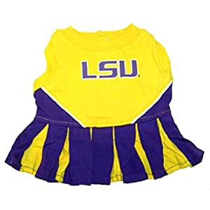 Pets First NCAA LSU Tigers Cheerleader Dog Outfit, Medium