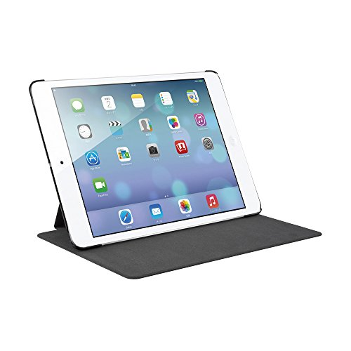 iBUFFALO iPad mini 3 (2014年) レザーケース フリーアングル 液晶保護フィルム付 ブラック BSIPD714LBK 【自由な角度で立てられるスタンド機能付】
