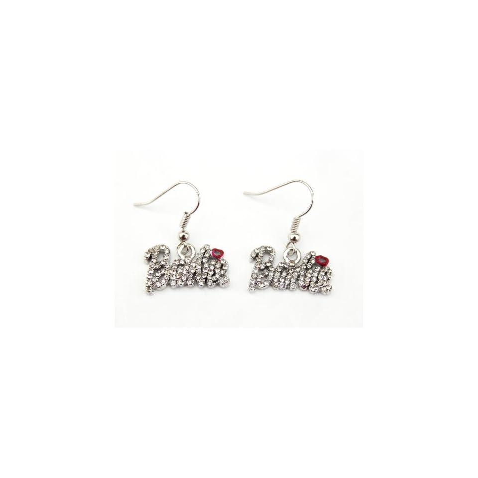 Iced Nicki Minaj Barbie French Hook Earrings with Red Kiss