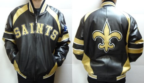 New Orleans Saints Leather Jacket (Black and Gold, L) at Amazon.com