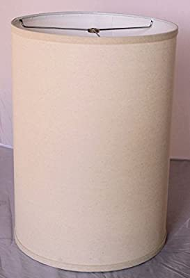 "12""Wx17""H Drum Linen Natural Homespun Lamp Shade Retro Rustic Vintage Hardback Liner USA Made"