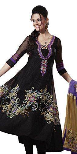 Adah Fashions Womens Georgette Anarkali Dress Material (105-4020-B -Black -Free Size)