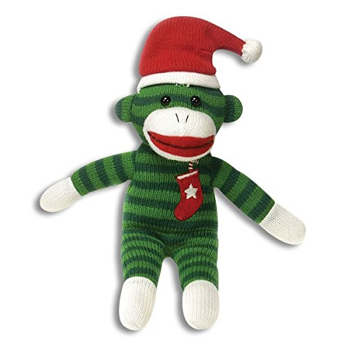 Green Sock Monkey Plush Toy 10.5 Inches