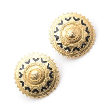 Gold Sun Motif Earrings