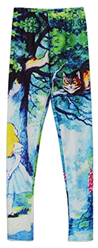 Womens Sexy Cheshire Cat Printed Leggings Alice in Wonderland Tights Pants Gifts