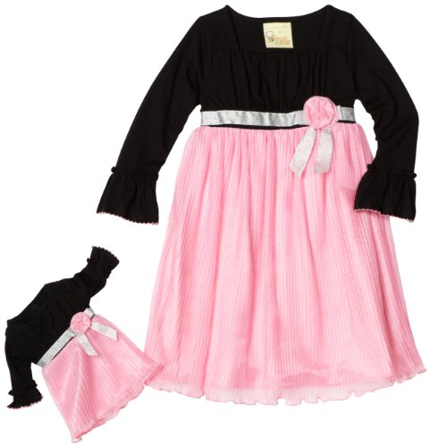 Dollie & Me Girls 2-6X  Pleated Dress, Black/Pink, 4