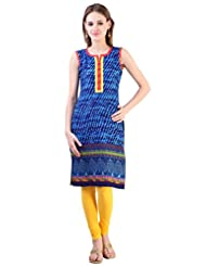 Libas Women's Cotton Printed Straight Sleeveless Kurta - B00WOIFQFK