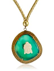 Azotique Gold Plated Chain Necklace For Women (Green) (AZ NP 82)