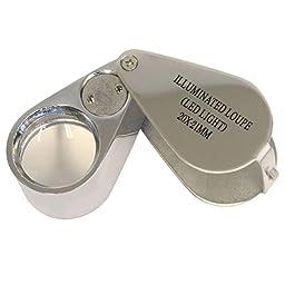 20x 21mm LED Illuminated Folding Jeweler Loupe - Silver Chrome