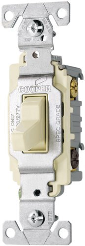 Cooper-Wiring-Devices-CS320LA-20-Amp-120277-volt-Commercial-Grade-3-Way-Compact-Toggle-Switch-with-Side-Wiring-Light-Almond-Finish-by-Cooper-Wiring
