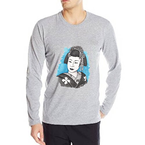 NEW York Night Geisha Painting Premium Ring Spun Cotton Heavy Weight Cotton Retro Fahion Graphic Crew Neck With Wicking Long Sleeve mens T-shirt Size S (Barbie Comforter Full compare prices)
