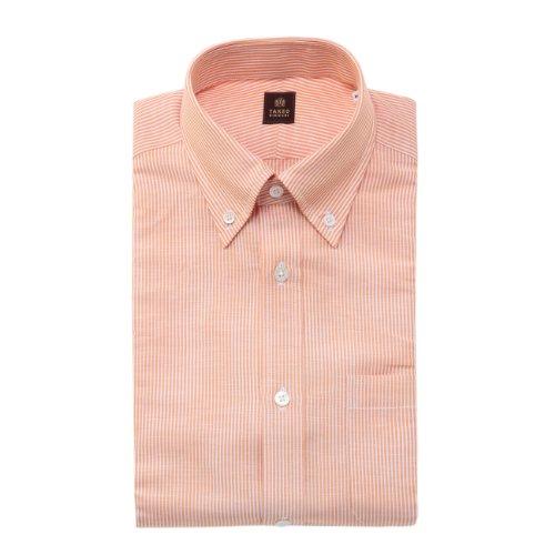 (タケオ キクチ)TAKEO KIKUCHI リネンストライプドレスシャツ オレンジ系(367) 04(LL)