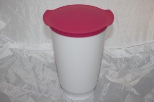 Tupperware-Trinkbecher-ALLEGRA-CUP-Joghurtbecher-Becher-450ml-weiss-pink