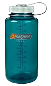 Nalgene Tritan Wide Mouth BPA-Free Water Bottle, 1-Quart, Trout Green with Platinum Lid