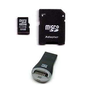 Komputerbay 32Go SDHC MicroSD microSDHC classe 6 avec Adaptateur Micro SD et noir 10 en 1 USB haut débit USB lecteur de
