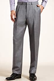 Pure Wool Twin Pleat Straight Leg Trousers [T15-1928d-S]