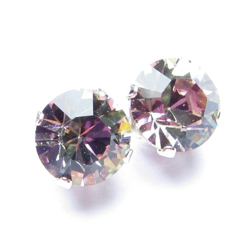 925 Sterling Silver Stud Earrings set with Vitrail Light Swarovski Crystal Stones. Gift Box. Made in England. Beautiful jewellery for very special people.