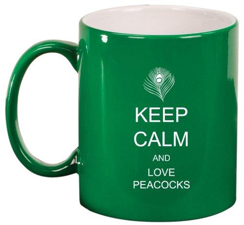 Green Ceramic Coffee Tea Mug Keep Calm And Love Peacocks