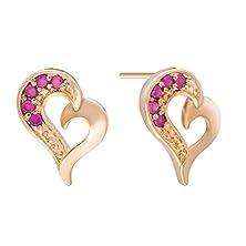 buy Snowman Lee Forever Love 18K Rose Gold Plated Open Heart Pave Diamond Stud Earrings