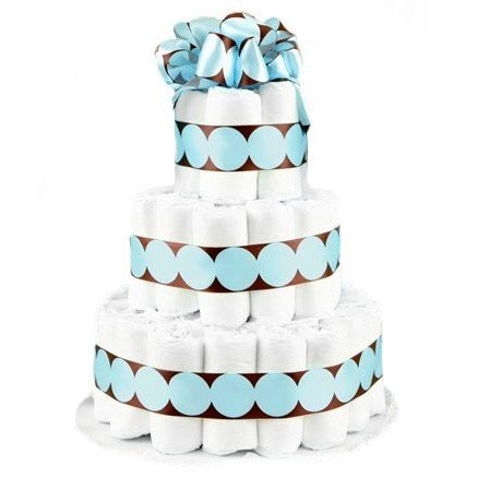 3 Tier Blue & Brown Polka Dot Baby Boy Diaper Cake - Great Baby Shower Gift Idea or Table Centerpiece